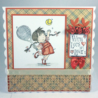 Any occasion greetings card, birthday card - girl playing tennis