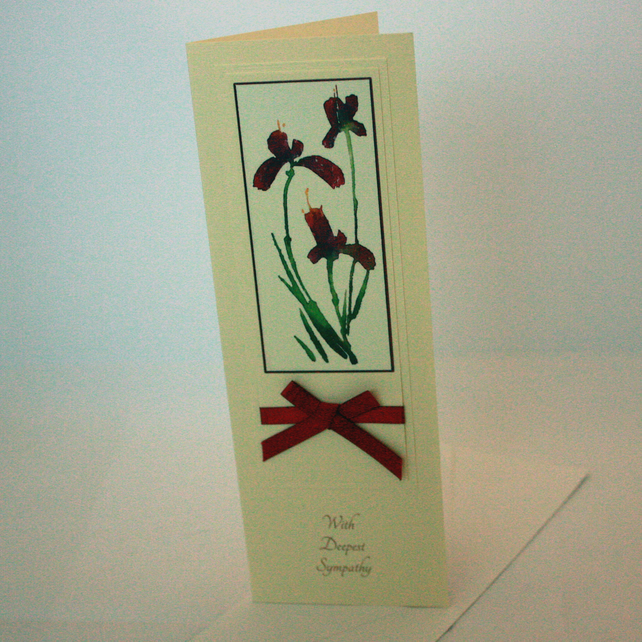 Red iris floral sympathy card