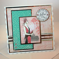 Any occasion greetings card - Art Deco lady