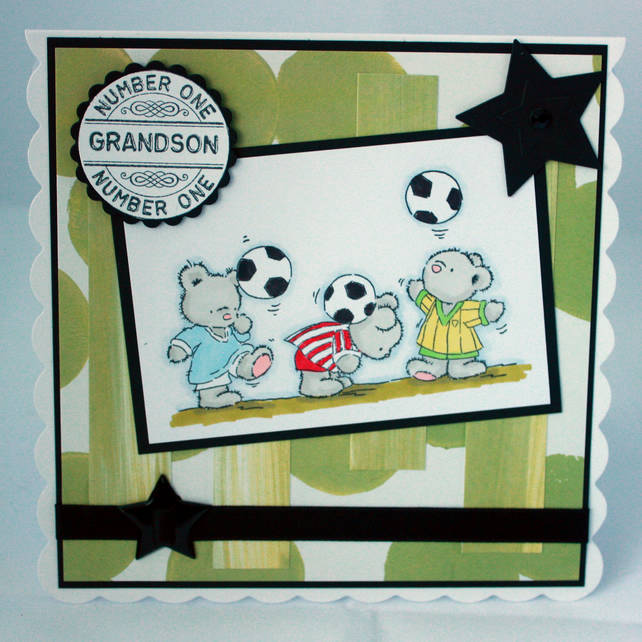 Grandson card - footballing bears - birthday or congratulations
