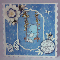 Bear on a swing Special Day card - birthday, Mother's Day, naming day