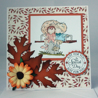 Handmade anniversary card - autumn leaves