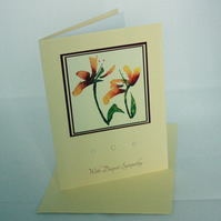 Red-orange floral sympathy card