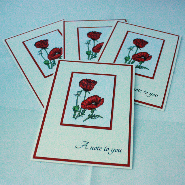 Set of 4 poppy note cards