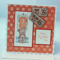 Orange Football Ted Father's Day card