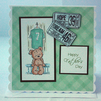 Green Football Ted Father's Day card