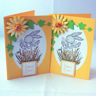 Handmade Easter card pack - bouncing bunnies