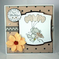Cute bear Mum card - birthday or Mother's Day card