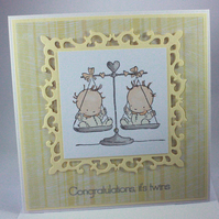 Handmade new baby card - twins neutral