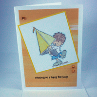 Handmade card - birthday boy with sailing boat