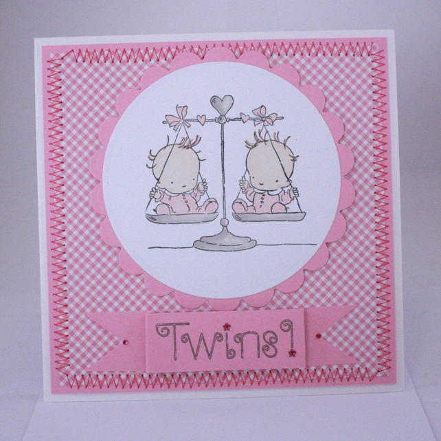Handmade new baby card - twins