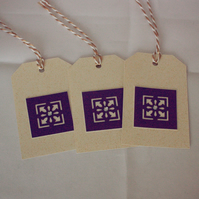 Cream and gold luggage tag style gift tags - pack of 3