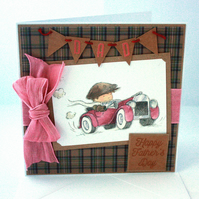 Handmade Father's Day card - the motorist