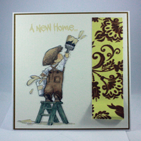 Handmade new home card - decorating