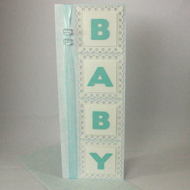 Handmade, blue, new baby card