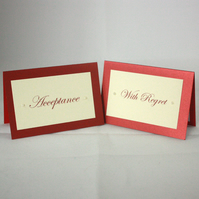 Pack of handmade acceptance & with regret cards