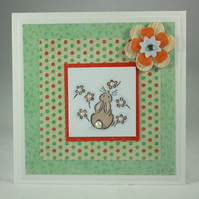 Handmade, any occasion card - bunny and flowers - now reduced