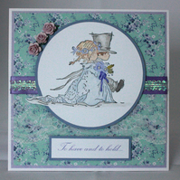 Handmade wedding card - bride and groom
