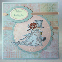 Handmade wedding card peach and grey bride and groom