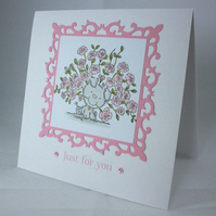 Handmade birthday card - dog with pink rose bouquet