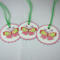 Set of 3 butterfly gift tags