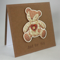 Handmade any occasion card - patchwork teddy
