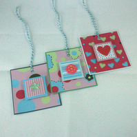 Set of 3 handmade bright gift tags