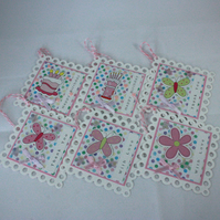 Set of 6 multi-occasion, handmade, pastel gift tags