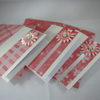 Pack of 3 handmade blank greetings cards or notecards and envelopes