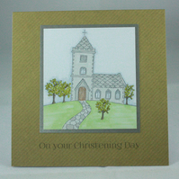 Handmade kraft card Christening Day