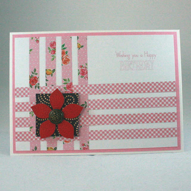 Handmade birthday card with woven panel