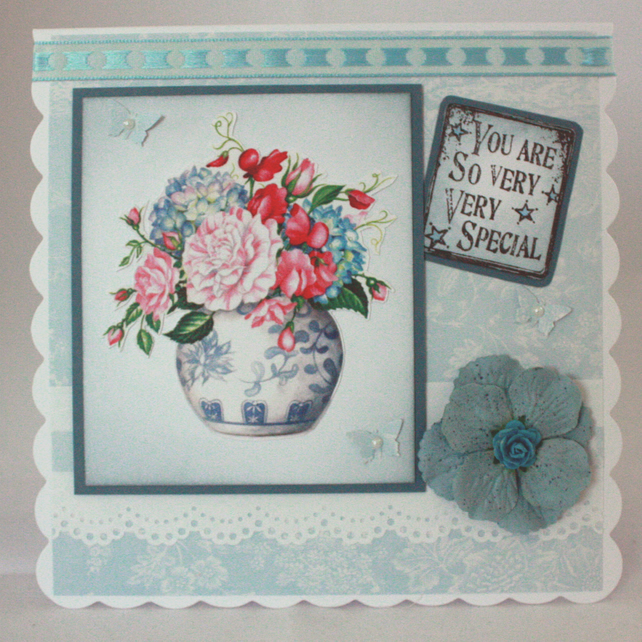 Handmade, any occasion card - vase of flowers