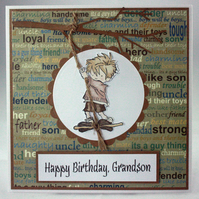 Handmade Grandson Birthday card