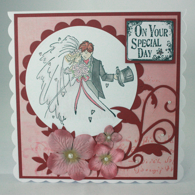 Handmade wedding card - bride and groom On Your Special Day