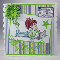 Handmade any occasion card - teenager with laptop