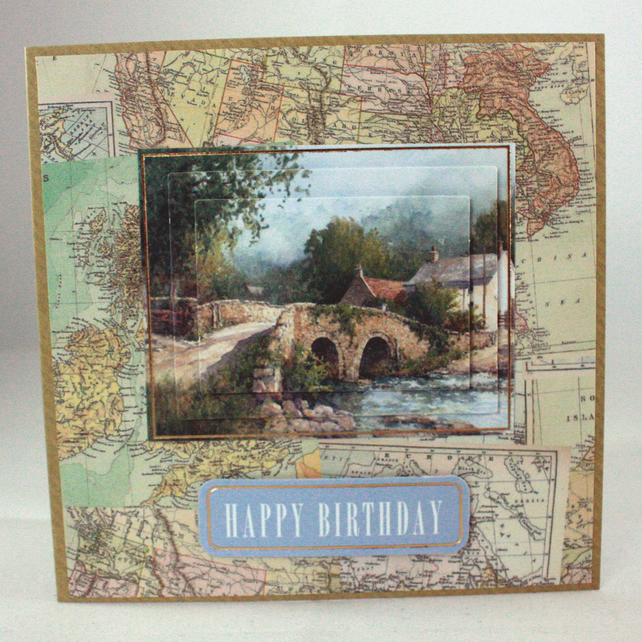 Handmade birthday card - 3d stone bridge over river