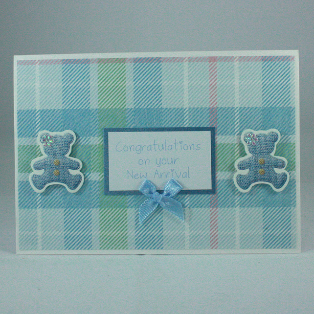 Handmade new baby card - blue teddy bears