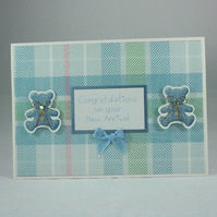 Handmade new baby card - blue teddies