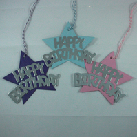 Pack of 6 star shaped Happy Birthday gift tags