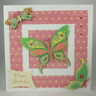 Glittered butterfly birthday card