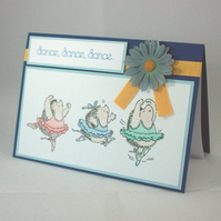 Handmade, any occasion card - ballet dancing hedgehogs