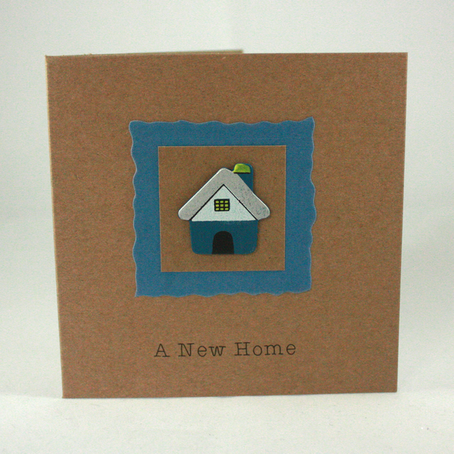 Handmade new home card - little blue house