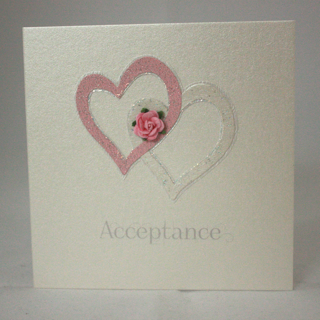 Joined hearts invitation acceptance card