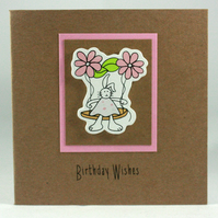 Small kraft birthday card - bunny on a swing