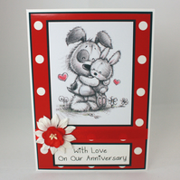 Cute dog and bunny anniversary card - on our anniversary