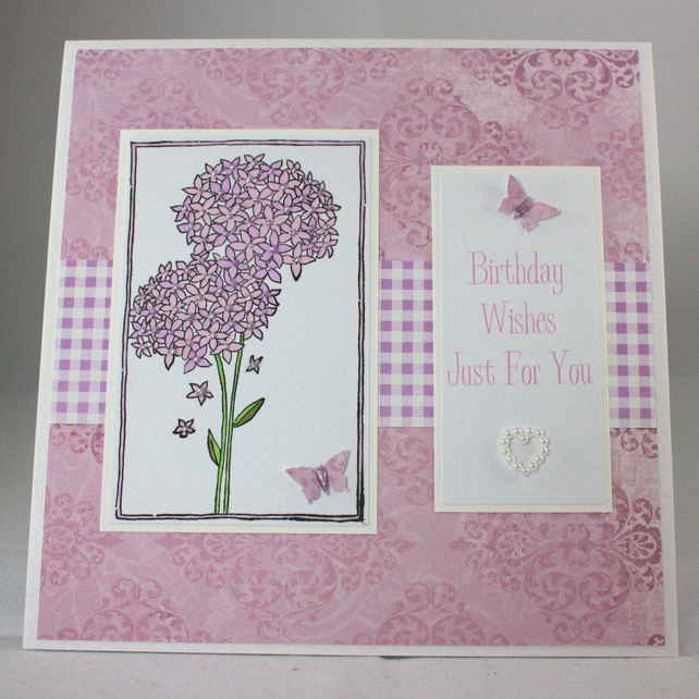 Handmade birthday card - pink alliums