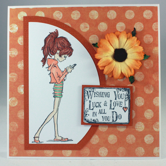 Handmade good luck card - girl with phone