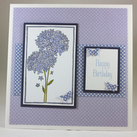 Handmade birthday card - purple alliums