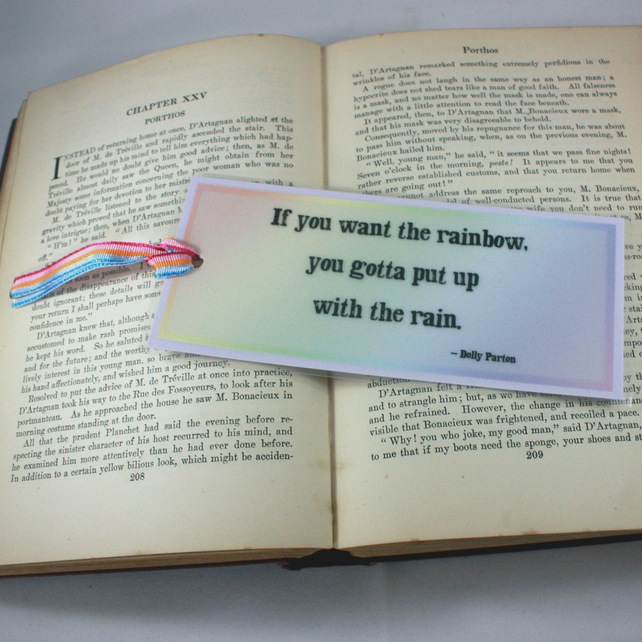 Rainbow bookmark with inspirational quote