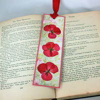 Handmade pressed flower bookmark - pink geraniums